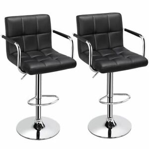 Adjustable Black Bar Stools, Set of 2, Faux Leather, Modern with Swivel