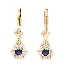 Women/Children's 14K Gold Sapphire September Birthstone Flower Dangle Earrings