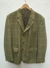 "Mans Jacket Blazer 48"" Check Wool Sports XL Cream Green Tan Hardy UK Button"