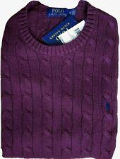 Superbe pull en coton torsadé Ralph Lauren Homme bordeaux Taille XL Neuf 100%