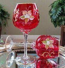Italian Venetian Barbini Murano Handmade 24K Gold & Red Balloon Wine Goblets
