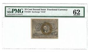 25 CENTS FRACTIONAL CURRENCY SECOND ISSUE, PMG UNCIRCULATED 62, FR-1284