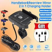 Aluminium QC3.0 USB Chargeur Rapide Moto Vélo Guidon Support Pr Téléphone GPS *
