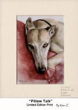 Greyhound Print Fawn Resting on Pillow Signed Art Pillow Talk Kevin Z Arttogo