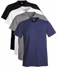 Hanes Hombre Azul Negro Gris Algodón Blanco Nano cuello de pico en V Camiseta