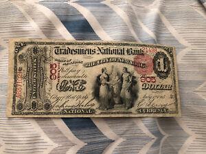 1865 $1 National Bank Note, 1st Charter, NEW YORK. Super Nice Bill! RARE!!!