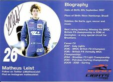 2017 MATHEUS LEIST signed INDIANAPOLIS 500 HERO PHOTO CARD INDY CAR BRAZIL back