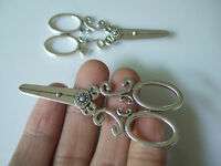 5 x Tibetan Silver Large 3D Scissors Sewing Hairdressing Charms Pendant Beads