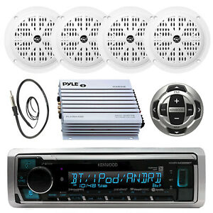 KMRM325BT Boat Pandora MP3 Radio W/Wired Remote,4 X Speakers 400W Amp & Antenna