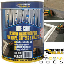 EverBuild Evercryl One Coat Instant Waterproofing Roofs Gutters Gulleys 5L Black
