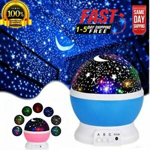 Starry Night Sky Projector Lamps Kids Baby Gift Moon Star Lights Rotating Cosmos