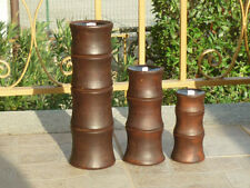 PORTACANDELE ETNICO BAMBOO naturale fatto a mano handmade artigianale legno BALI
