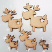 Star Wooden Reindeer MDF Christmas Blanks Craft Gift Tags Xmas Tree Decoration