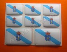 8 x Pegatinas 3D Relieve Bandera Galicia - Todas las Banderas del MUNDO