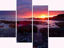 """30"""" X 40""""+ Scottish Sunrise Canvas Pictures Scottish Seas Multi 4 Panel Set"""