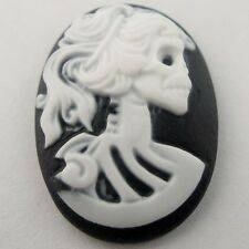 25x18MM 10 PCs Oval Resin Gothic Skull Lady Cameo Cabochons Jewelry Findings