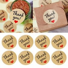 "60Pcs Kraft Paper Love Heart ""Thank You"" Sticker Decorative Baking Sealing Paste"