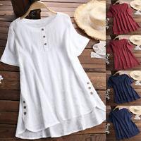 Women Summer Tunic Tops Ladies Short Sleeve Plain T-Shirt Blouse Plus Size S-5XL