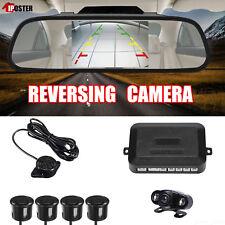 """HD 5"""" Car Rear View Mirror Monitor+2 IR LEDs Backup Camera+4 Parking Sensor Kit"""