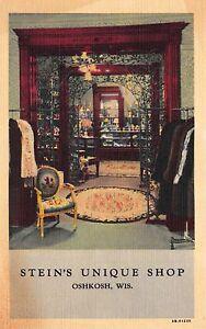 Linen Postcard Interior of Stein's Unique Shop in Oshkosh, Wisconsin~113530