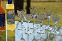 Vintage Etched Crystal Wine ~ Liquor Glasses, Set of 6, Mis-Matched 3 oz Cordial