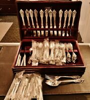 WALLACE GRANDE BAROQUE 925 STERLING SILVER 92 PIECE FLATWARE SET -MOSTLY NEW