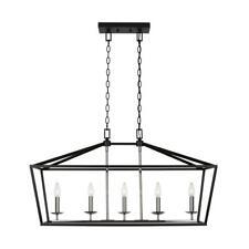 Home Decorators Weyburn 5-Light Black/Polished Chrome Caged Island Chandelier