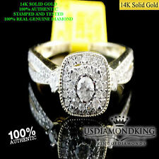 LADIES WOMEN 14K YELLOW GOLD GENUINE DIAMOND BRIDAL ENGAGEMENT WEDDING RING BAND