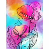 Abstract Patterned Flowers Leaf Painting XL Wall Art Canvas Print