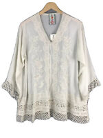 Johnny Was Tunic Top S Ivory Boho V Neck Crochet Lace Embroidered A line NWT