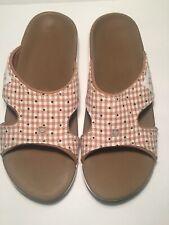 Spenco Kholo Women's Total Support Orthotic Sandals Floral Gingham Beige Slip On