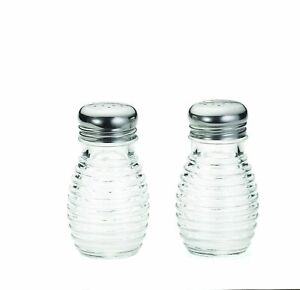 Beehive Glass Salt & Pepper Shakers Set of 2 Container