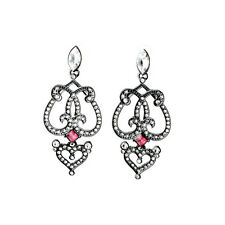 New Black Double Heart Drop Earrings Ruby Crystal Pave Silver Women Jewelry Gift