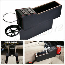 2 Pcs Left+Right PU Leather 4USB Autos Seat Gap Creative Storage Box Cup Holder