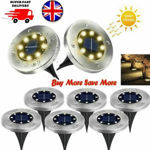 8/10/12 LED Solar Disk Lights Ground Flat Garden Lawn Deck Outdoor Home HotPath