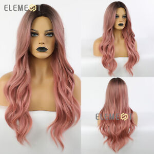 Dark Roots to PINK Hair Wigs for Women 18 inch Long Way Daily Party Cospaly WIG