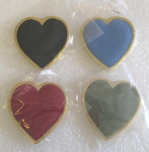 Lot of 4 Women of the Moose Velvet Heart Brooch / Pin Charm Holders WOTM New!