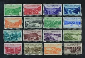 CKStamps: US Stamps Collection Canal Zone Scott#120-135 Mint NH OG 7c Gum Bend