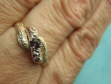 Estate Vintage 14K Yellow Gold Amethyst Diamond Cut Ring 1.7 Grams Size 7 3/4