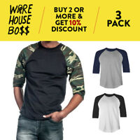3 PACK SHAKA MENS PLAIN RAGLAN TEE 3/4 SLEEVE CASUAL BASEBALL T SHIRT JERSEY TEE