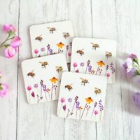 Jennifer Rose Gallery Set of 4 BUSY BEES Heat Resistant Laminated DRINK COASTERS