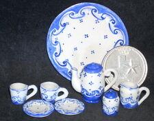 Coffee Tea Hot Chocolate Platter, Pot, Sugar, Creamer Mug Plate 1:12 Blue #6515