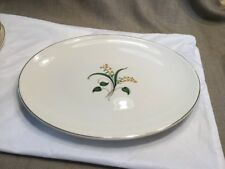 """Edwin Knowles China Forsythia 12"""" Oval Platter Vintage  Made in USA 1950"""