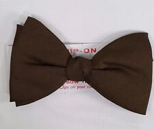 NOS Vintage Mens Bow Tie NeckTie Clip On Grip On Olive Green CLASSIC Dress New