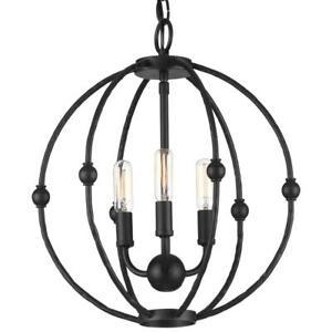 Progress Lighting Pacolet 3-Light Textured Black Pendant