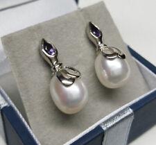 Genuine White Cultured Freshwater Pearl & Amethyst Earrings 925 Sterling Silver