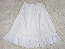 Vintage Eyelet Prairie Skirt, Lace White Yellow Below Knee, Sz Large Handmade