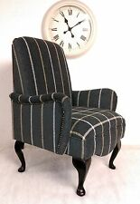 Shabby Chic Country Cottage Small Bedroom Chair in Black Lana Stripe