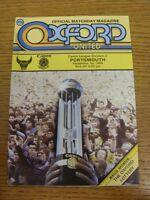 01/09/1984 Oxford United v Portsmouth  . Footy Progs (aka bobfrankandelvis) are
