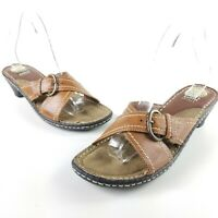 EARTH SPIRIT Womens Sz 9 Leather Gelron 2000 Johnson Sandal Mules Clogs 7297761